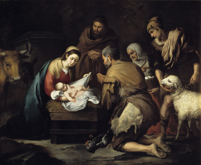 Bartolomé Esteban Murillo (1617-1682). Adoration of the Shepherds, c. 1657. Museo del Prado, Madrid, Spain.