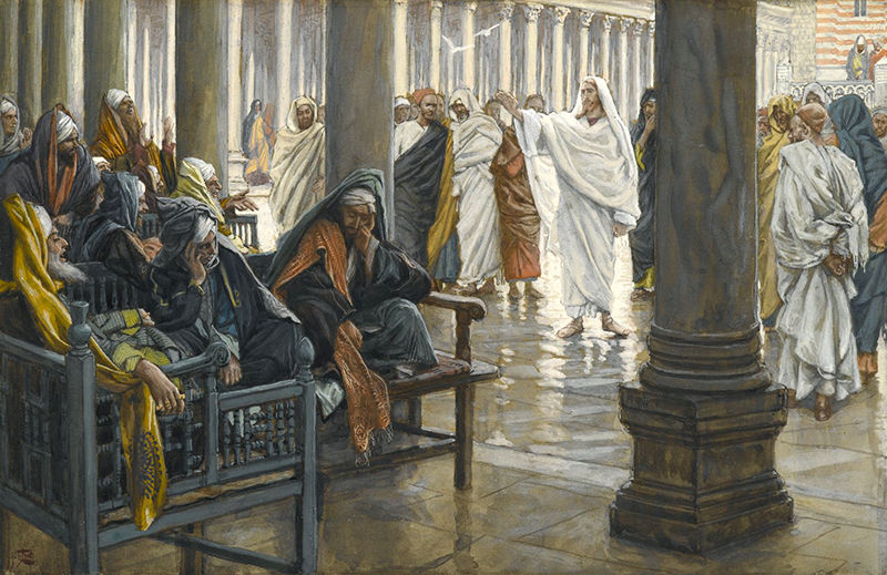 James Tissot (French, 1836-1902). Woe unto You, Scribes and Pharisees , 1886-1894. Opaque watercolor over graphite on gray wove paper. Brooklyn Museum.