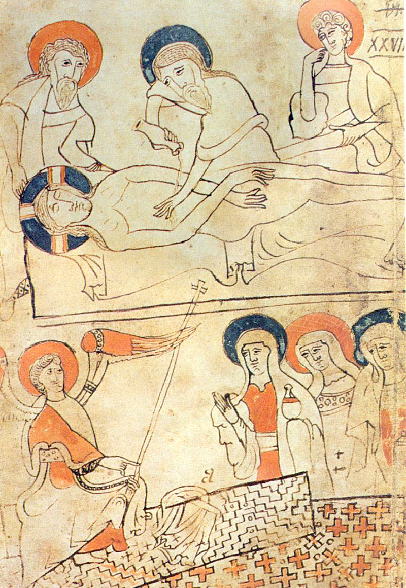 An illustration from the Pray Codex, Burial of Jesus.