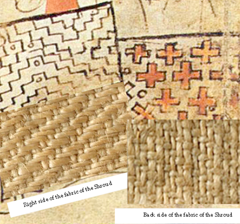 Comparison of textures from the Pray Codex illustration and from the Shroud of Turin cloth.