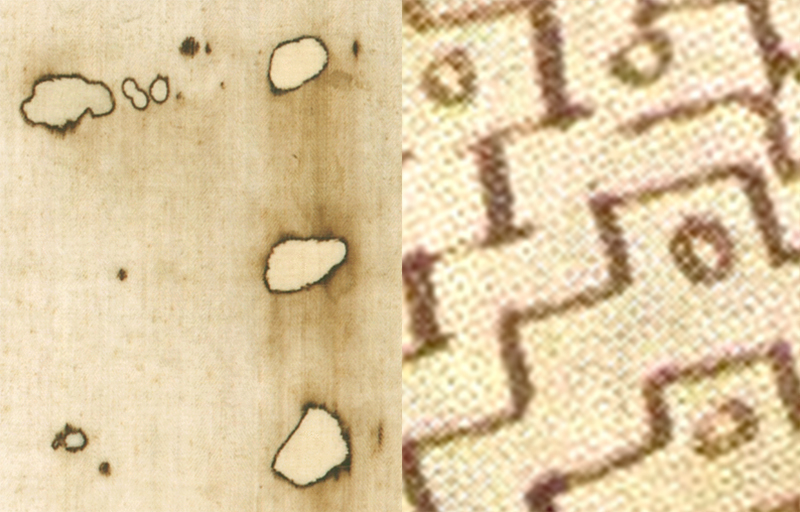 L-shaped burn holes in the Shroud of Turin and L-shaped pattern of circles from the Pray Codex illustration.