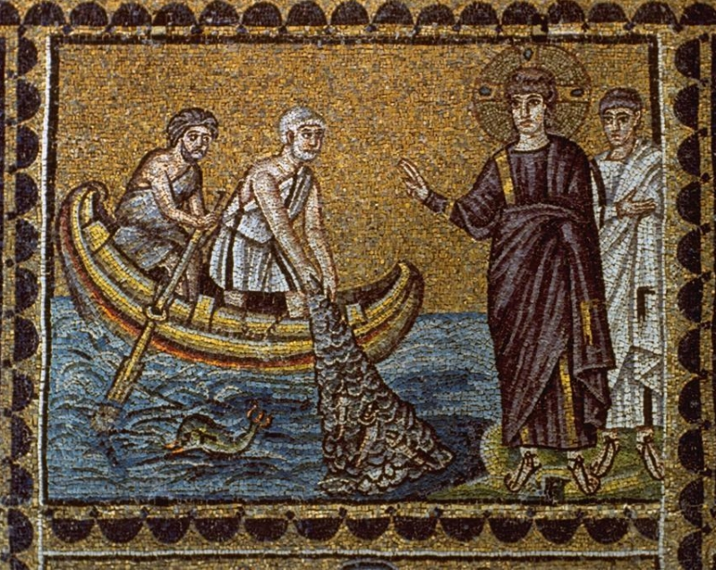 Christ calls Peter and Andrew to be his disciples. Mosaic. Sant'Apollinare Nouvo, Ravenna, Italy. Sixth century.