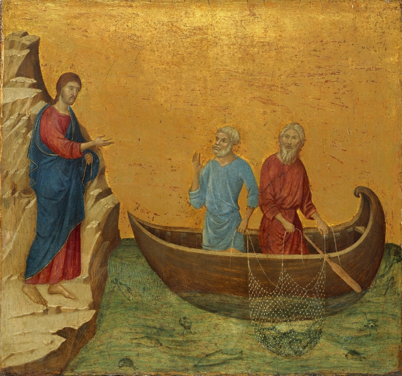 Duccio di Buoninsegna, Sienese, c. 1250/1255 - 1318/1319. The Calling of the Apostles Peter and Andrew, 1308-1311. Tempera on panel.