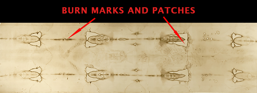 Shroud of Turin with burn marks and patches