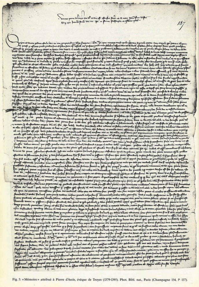 Letter attributed to Pierre d'Arcis, bishop of Troyes (1379-1395), National Library of France, Paris.