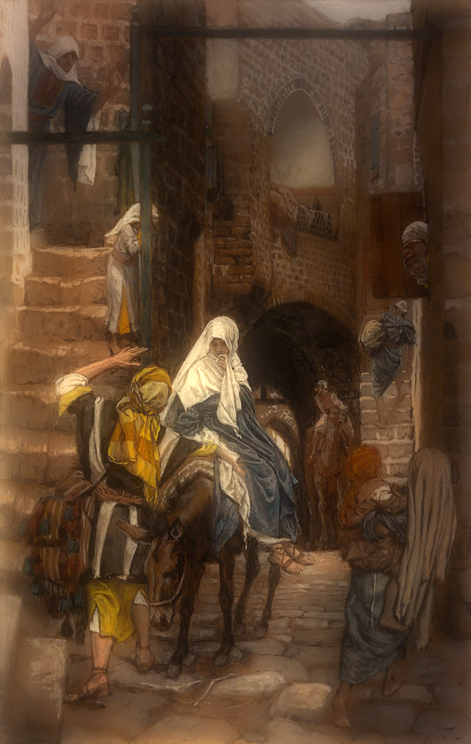 James Tissot (French, 1836-1902).   Saint Joseph Seeks a Lodging in Bethlehem   , 1886-1894. Opaque watercolor over graphite on gray wove paper,