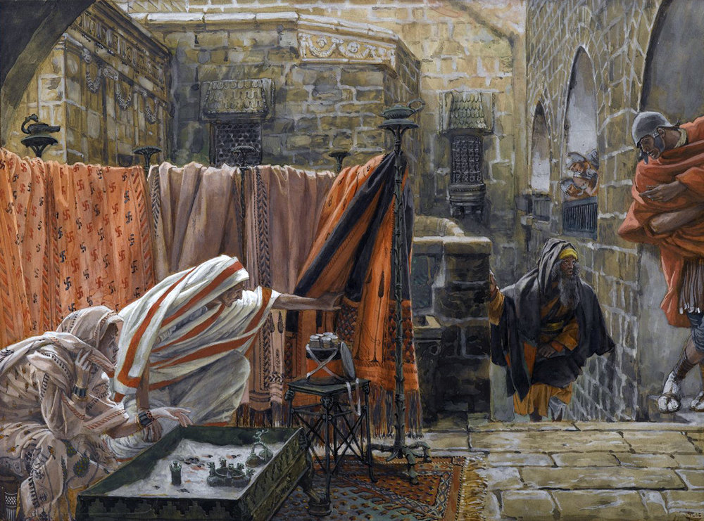 James Tissot (French, 1836-1902). Joseph of Arimathaea Seeks Pilate to Beg Permission to Remove the Body of Jesus , 1886-1894. Opaque watercolor over graphite on gray wove paper, Image: 8 15/16 x 12 1/8 in. (22.7 x 30.8 cm). Brooklyn Museum.