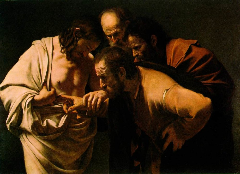 Caravaggio (Italian, 1571-1610).The Incredulity of Saint Thomas, circa 1600. Sanssouci Picture Gallery, Germany.