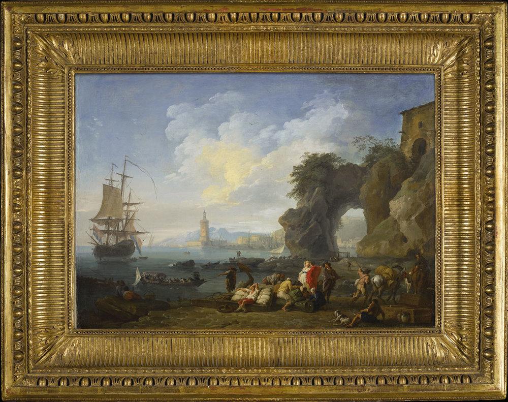 Claude-Joseph Vernet (French, Avignon 1714 -1789 Paris). A Coastal View Near Posillipo, Naples, 1742. Oil on canvas.