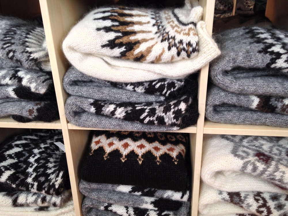Piles of beautiful sweaters