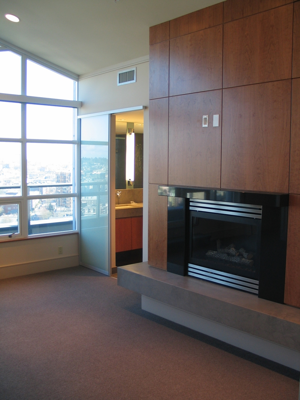 Modern fireplace in the master bedroom.