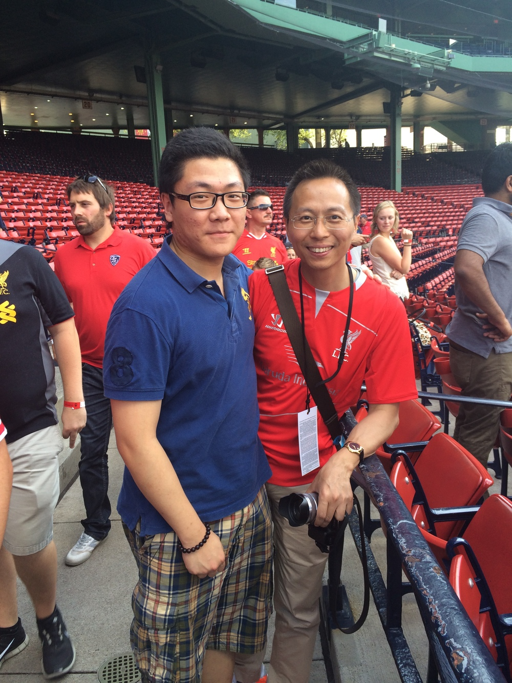 Me with Jun Zhan, a famous mandarin soccer commentator in ESPN. We were at Fenway Park when Liverpool visited Boston.