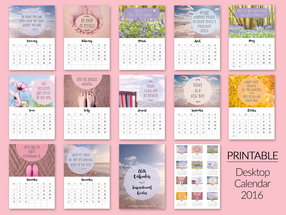 Printable Desktop Calendars for 2016 now in my Etsy shop