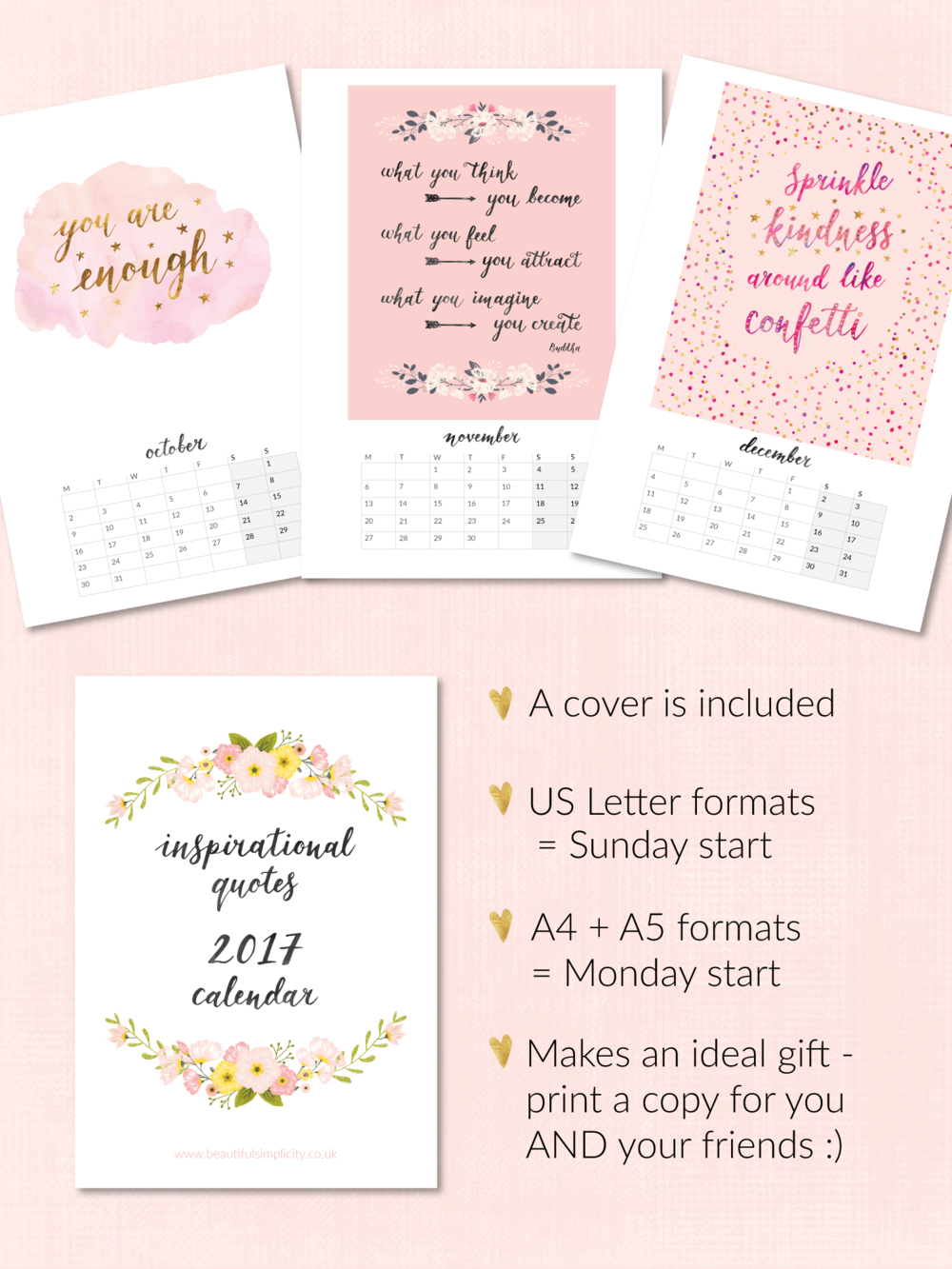 Calendar Inspirational Quotes : Printable calendars now in my etsy shop — beautiful