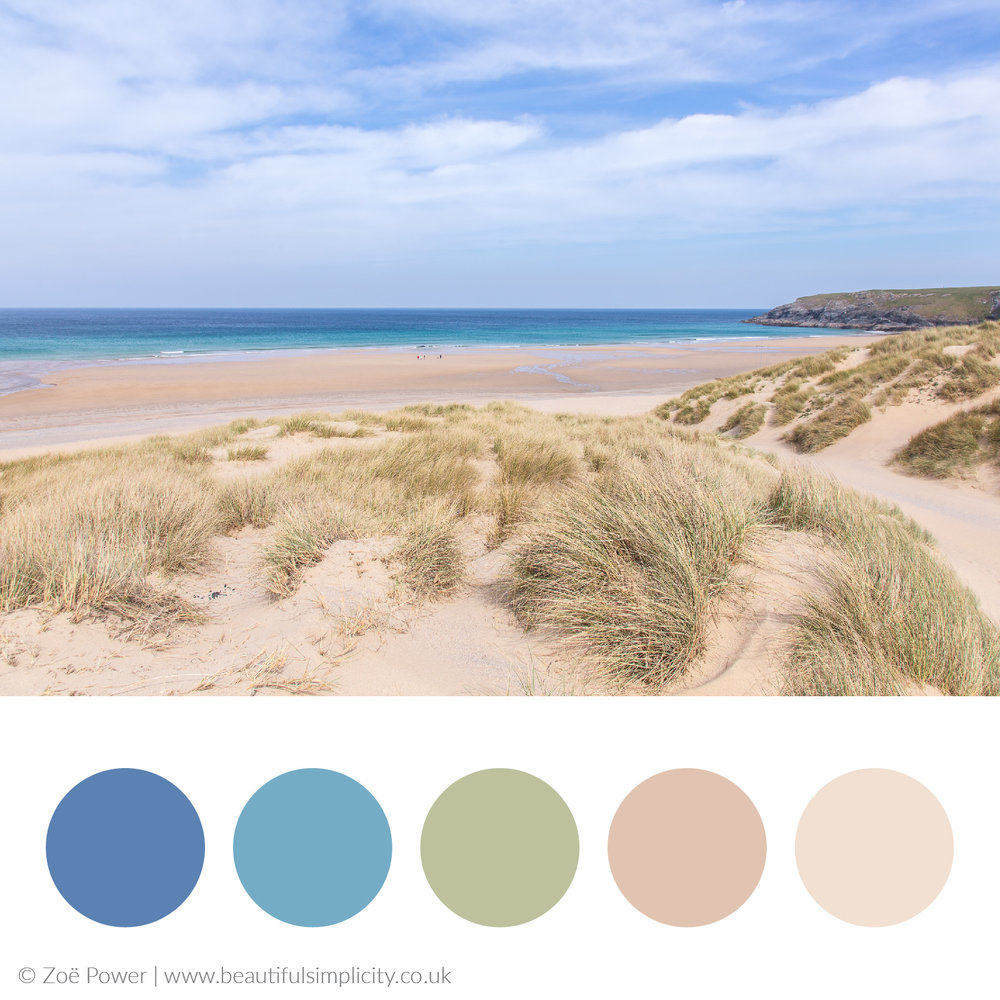 Sea, sky and sand dunes colour palette | Holywell beach, Cornwall, UK