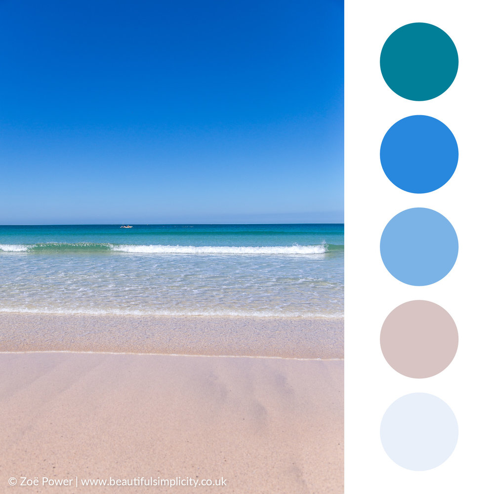 Sky blue and aqua colour palette | Porthmeor beach, St. Ives, Cornwall, UK