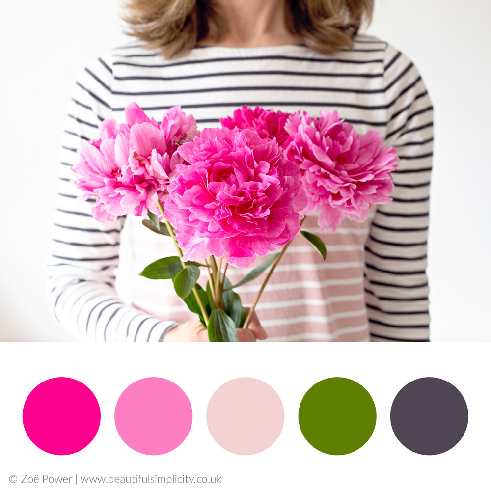 Hot pink peony colour palette