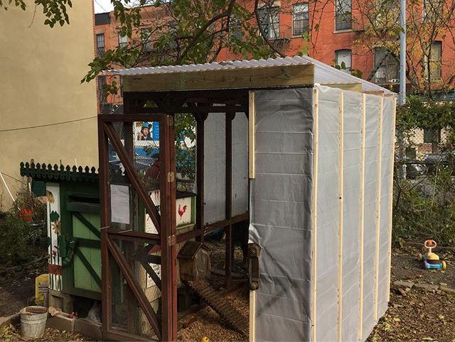 The hens coop was winterized over the las couple of days! We haven't figure out how to keep water from freezing yet so let us know any ideas that doesn't require electricity. #urbanchickens #communitygarden #chickens #citychickens