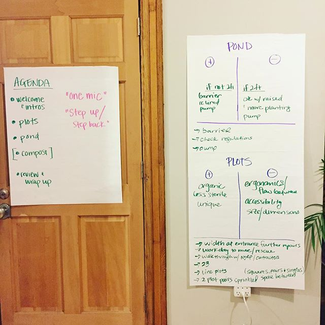 Shout out to all the members that made it today to our emergency meeting. We had a very productive session!  Stay tuned to know more about the renovations that will happen over the next few months, these will improve our rainwater harvesting system, compost operations, pond and beds. #communitygarden #bedstuy #communityled