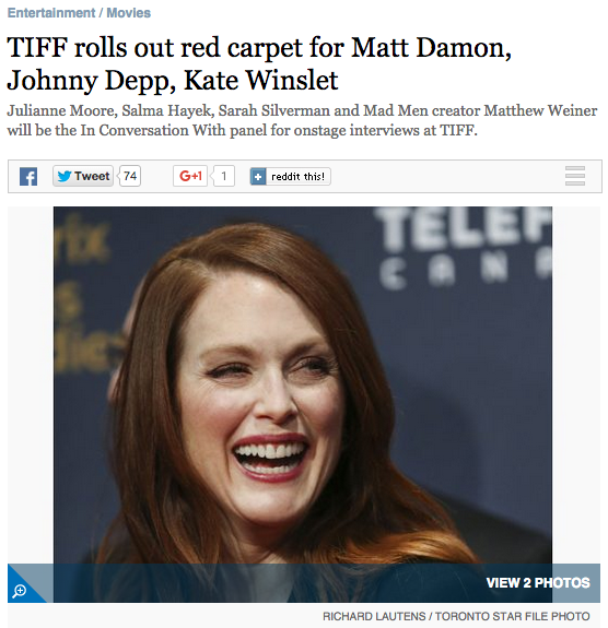 The Star: TIFF rolls out red carpet for Matt Damon, Johnny Depp, Kate Winslet