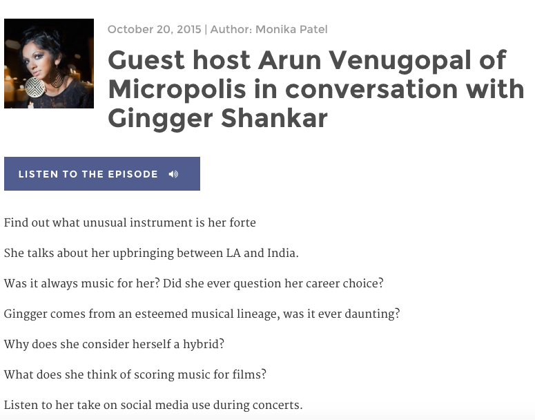Indiaspora: Guest host Arun Venugopal of Micropolis in conversation with Gingger Shankar