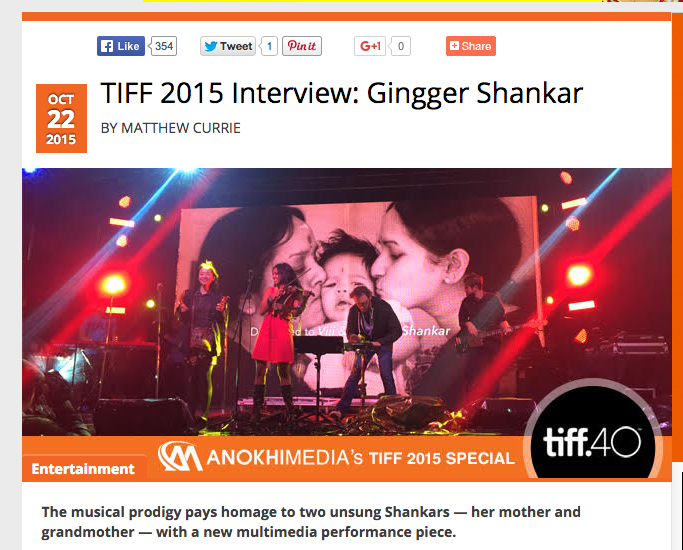 Anokhi Media: TIFF 2015 Interview, Gingger Shankar
