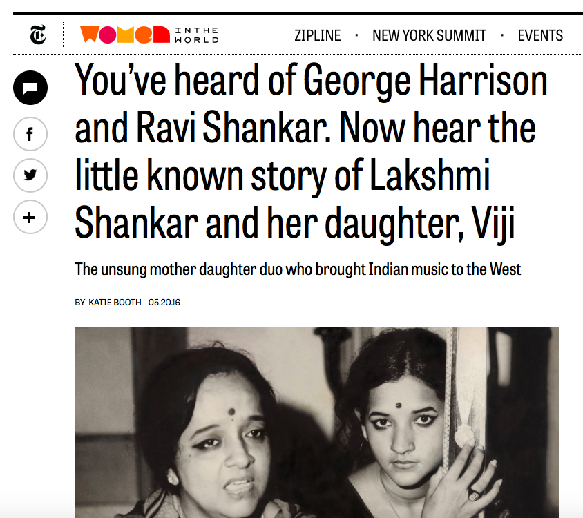 NYT: You've heard of George Harrison and Ravi Shankar. Now hear the little known story of Lakshmi Shankar and her daughter, Viji