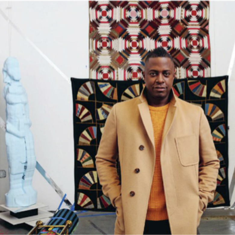 SANFORD BIGGERS    An LA native working in NYC, Sanford Biggers creates artworks that integrate film, video, installation, sculpture, drawing, original music and performance. He intentionally complicates issues such as hip hop, Buddhism, politics, identity and art history in order to offer new perspectives and associations for established symbols. The significance of Biggers' work within contemporary society has been celebrated through solo exhibitions both nationally and internationally, most recently at the Brooklyn Museum, Sculpture Center and Mass MoCA. His works are included in the collections of the Museum of Modern Art, Walker Art Center, Whitney Museum, Brooklyn Museum and Bronx Museum.