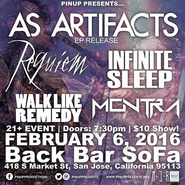 New show added this month! Feels good to be playing in San Jose! #Montra #music #metal #progressive #prog #rock #asartifacts #requiem #infinitesleep #walklikeremedy #bar #backbar #sj #sanjose #bayarea #sanjo #cali #ca #sf #sanfrancisco #instacool #instagood #instadaily #instamusic #local #shows #bands