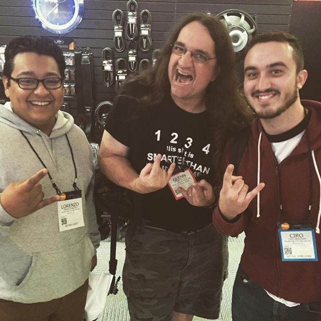 NAMM is a good fuckin' time! We ran into the mighty GLENN FRICKER of @spectremediagroup at the peavey booth, and I honestly was a little nervous that he was gonna make fun of us. Seeing lots of cool new shit this year! More pictures to come #montra #metal #namm #anaheim #namm2016 #glennfricker #smg #spectremediagroup