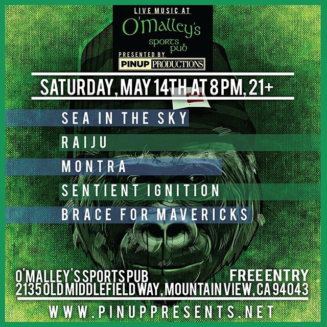 We're just a little under a month away from this! Very excited to be sharing a night with our boys in @seaintheskymusic @raijumusic @sentientignition and @braceformavericks #sanjose #mountainview #bayarea #music