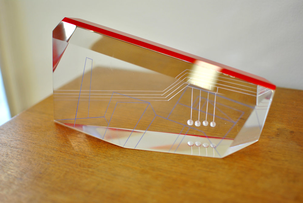 LAMINATED ACRYLIC GLASS DESK OBJECT (AWARD) WITH CARVED LINES