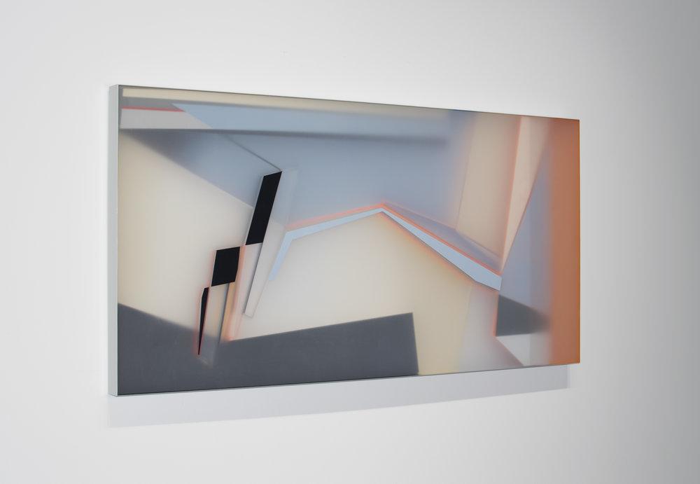 "KAL MANSUR | ""PAYNE PLATEAU FOUR"" (2016) | ACRYLIC GLASS CONSTRUCTION | 30 x 60 x 2.5 inches | INQUIRE"