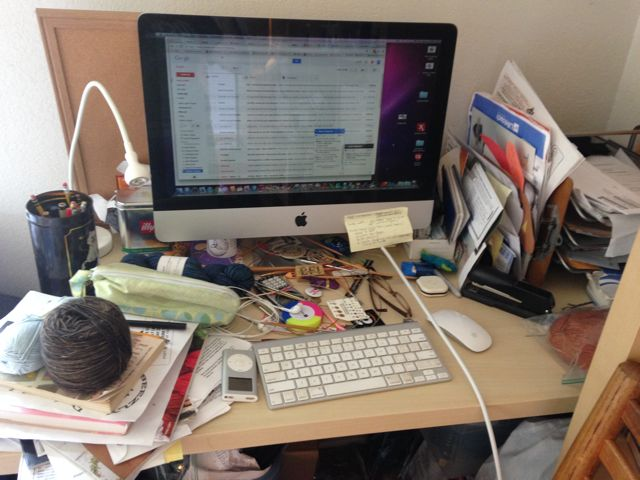 The owner, Jennifer, believes a messy work station contributes to her creative genius.