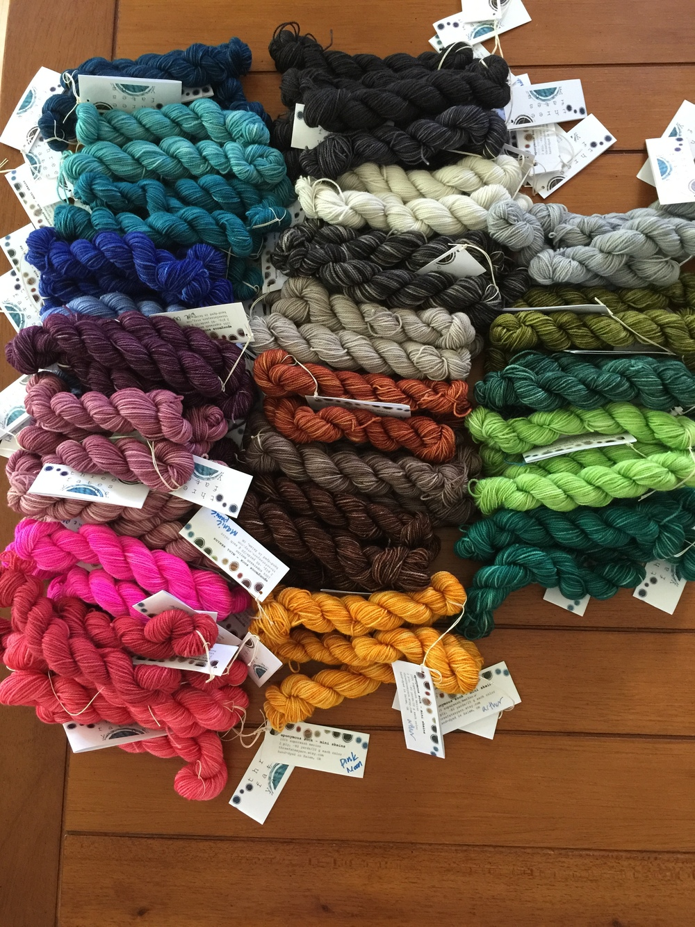 Three fates is all about story telling and has kind of an elemental theme, so the individual yarn names have been named after greek and roman mythological elements. Such as Terra Sock - Earth, Helios - Sun, Aether - Wind, Aquae - Water, etc.