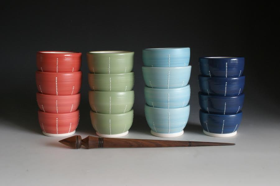Porcelain bowls with dimples