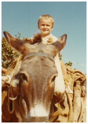 Me on our donkey in Greece'70