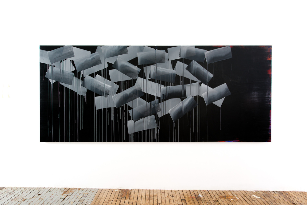Adam Siegel, Two Tone Series, 5' X 12', Acrylic On Canvas 2015