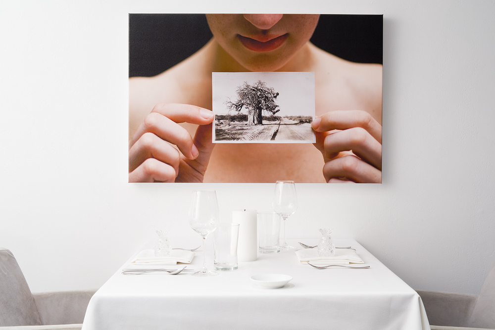 "The Tree, White dining room installation,  The Progression, By The Alinea Group, Landscape, installation of #12 photographs, Each photograph is 36"" X 24"", on canvas"