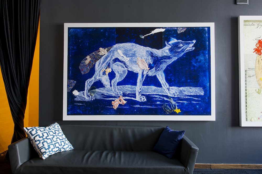 "Wolf painting, The Progression, By The Alinea Group, Front room pictured with wolf painting, dimension 8'-1"" 5'-4"""