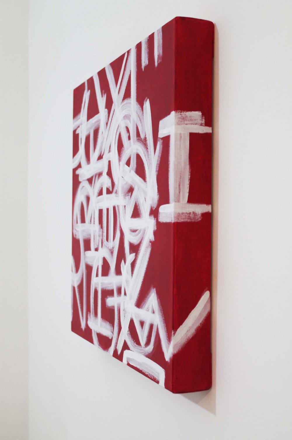 A to Z 2.0,  Acrylic on canvas, 45 x 45 x 5.5cm, 2017