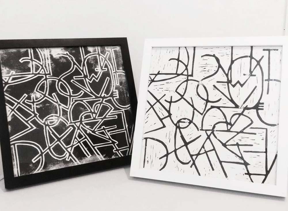 Intersect,  Lino print, 30 x 30cm, 2017.  Intersect 2.1 , Lino print, 30 x 30cm, 2017