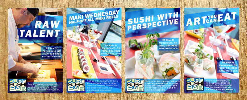 I created these ads for a local sushi bar which was one of our clients when I worked at CatchFire Creative. They ran in local papers and magazines on a rotating basis.
