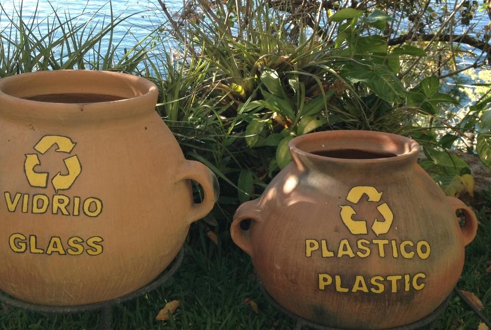 The most beautiful recycling bins I've ever seen... Casa del Mundo at Lake Atitlán