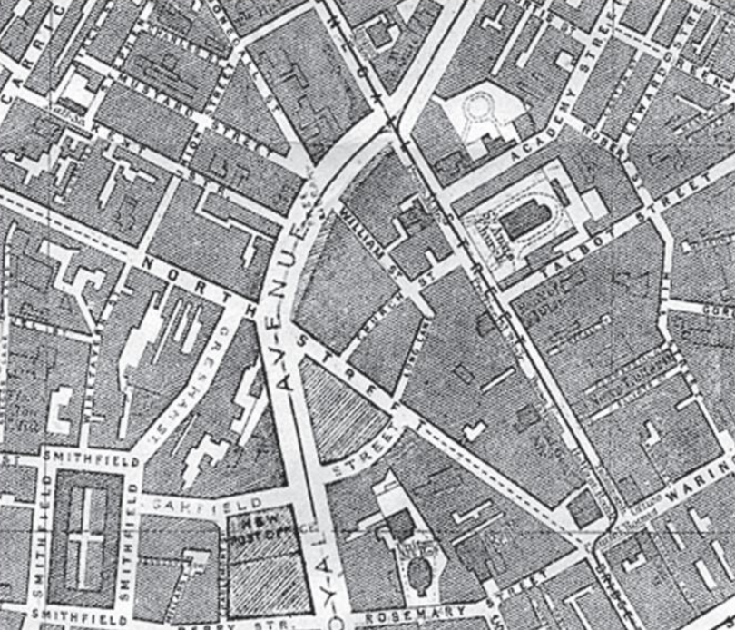 1880's - An 1888 Belfast Map showing lower Donegall Street.