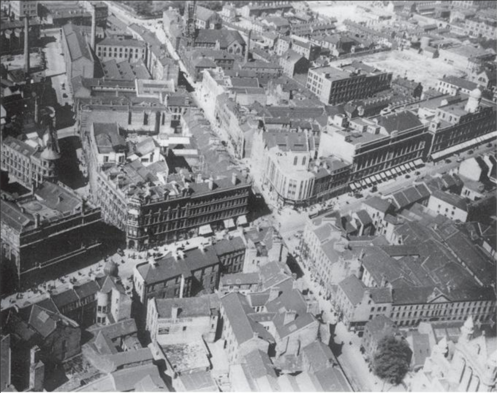 1940's (Before) - Junction of Upper & Lower Donegall Street with York Street and Royal Avenue shortly before many of the buildings were destroyed in the Luftwaffe Blitz of 1941.