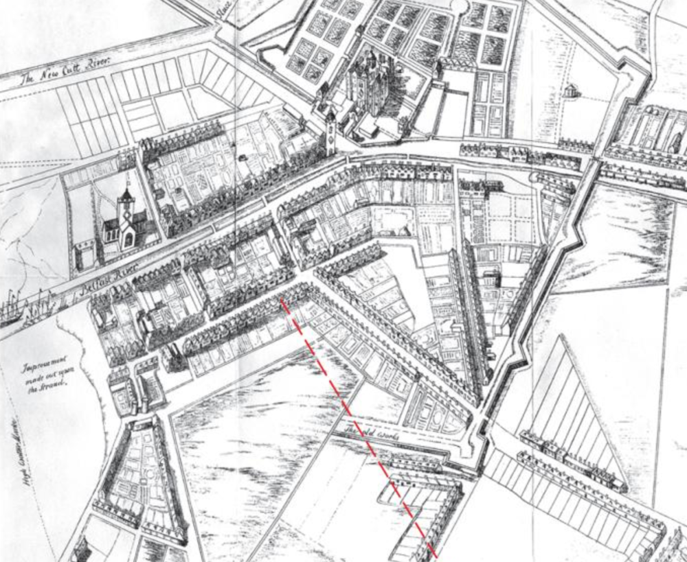 1680's - An old Belfast Map of 1685 with a line showing where Donegall Street would later be laid.