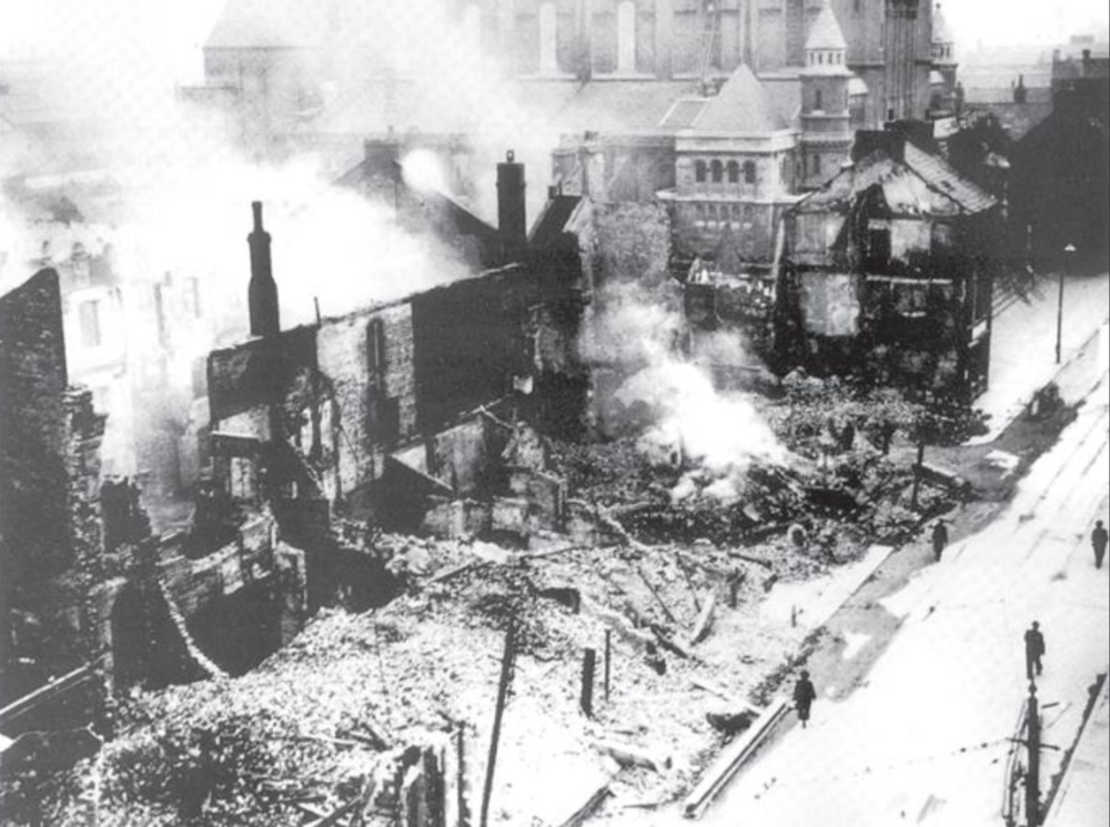 1940's (After) - Destruction caused at the junction of Donegall Street and Academy Street during the German Blitz.