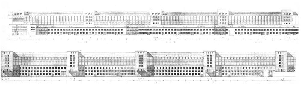 Alzado y sección originales de la zona de los hangares