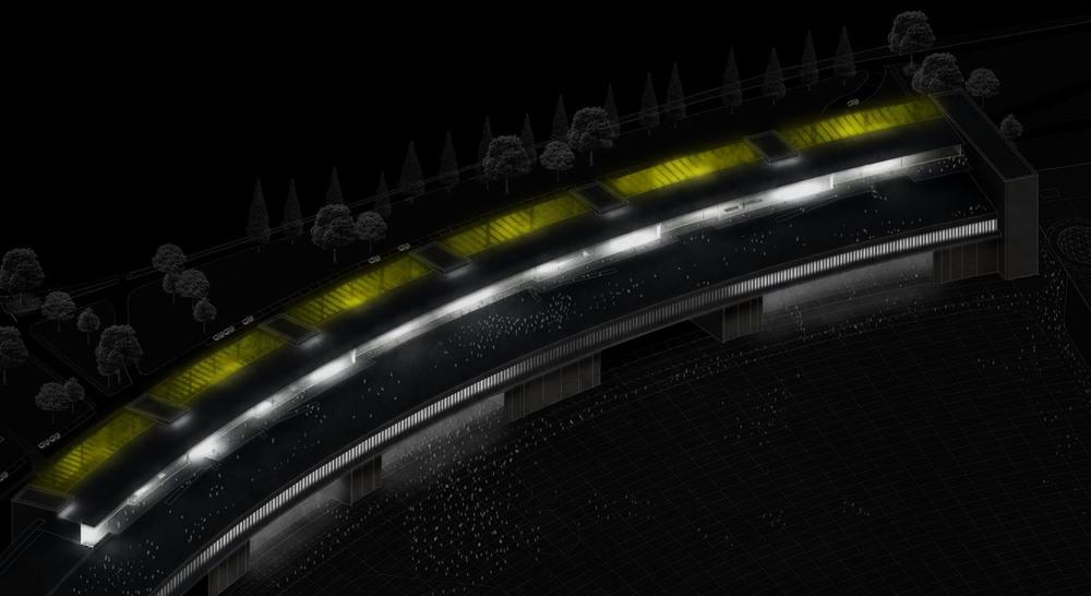 Imagen nocturna del proyecto